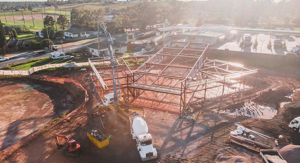 Concrete pour at Bethel Mar Thoma Church, Horsley Park NSW